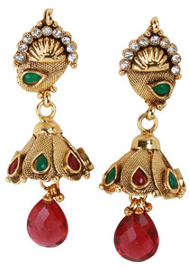 Impressive inspired fashion chandelier earrings with emerald,ruby and clear stones-CJEARRING11
