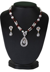 Affordable fashion beaded necklace with simulated stones cz pendant -CJBEAD57