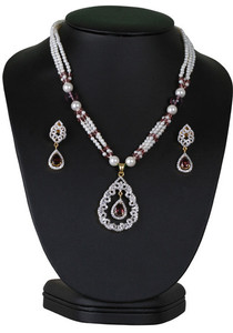 An impressive simulated light purple and cz cluster pendant beaded necklace-CJBEAD41