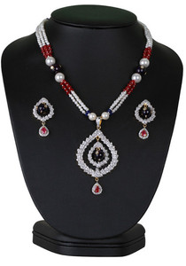 Designer fashion beaded necklace with simulated stones cz pendant-CJBEAD55