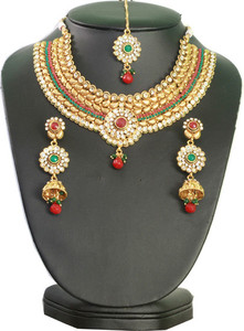 Charming Indian designer fashion semi bridal necklace set with Emerald,Ruby & clear stones-17SMBR2014