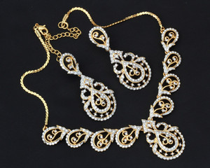 Beautiful Indian fashion necklace and Earrings jewelry Set - DMD1