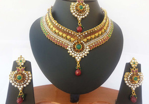 Wedding fashion designer polki bridal jewelry set in golden background with Emerald,ruby and white stones-JEWELRYCR05