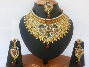 Exclusive peacock designed fashion costume semibridal necklace set with Pearl,Ruby,Emerald and clear stones-JEWELRYCR10