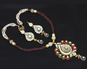 Authentic design kundan beaded necklace pendant earring set jewelry-03KDNJ14