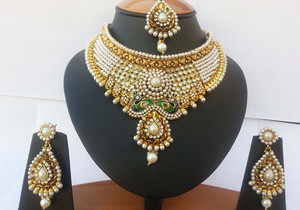 Gorgeous Pearl and clear stones fashion semi bridal necklace set with earrings-JEWELRYCR06