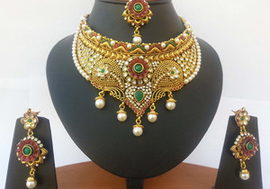 indian fashion wedding jewelry set handcrafted on a gold background with Ruby, Emerald and clear crystal stones-JEWELRYCR15