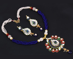 Charming Gold plated kundan necklace with pendant with Sapphire Blue and White Crystals-05KDNJ14