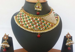 Emerald, Ruby and Clear stones bridal wedding jewelry necklace set -JEWELRYCR14