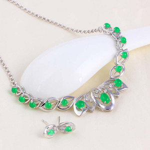 Emerald 18K silver plated necklace earring jewelry