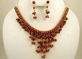 Gold plated chain necklace with goldstone beads-JCN31