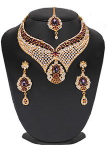 Amethyst and clear stone studded bridal jewelry