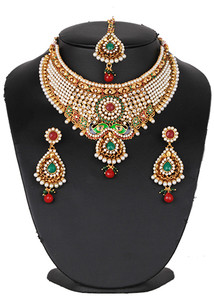Ruby,Emerald,Pearl studded bridal fashion jewelry