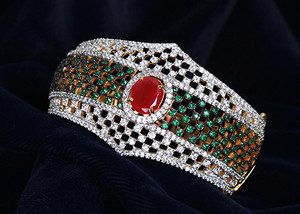 An elegant simulated American diamond Emerald, White CZ Ethnic style Cuff Bangle-ADBANGLE28