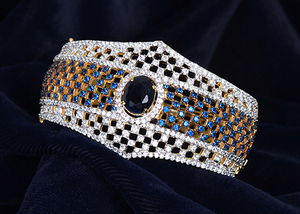 American Diamond Sapphire Blue, White CZ Ethnic style Cuff Bangle