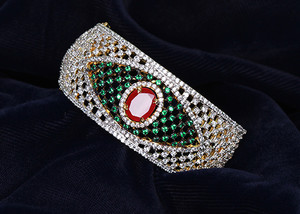 An impressive simulated American Diamond Emerald, White CZ Ethnic style Cuff Bangle-ADBANGLE1