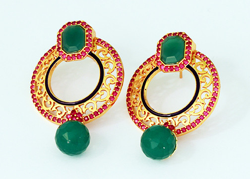 Emerald and fuchsia stone earrings  sc 1 st  Indian Designs & An elegant Indian costume earrings with Emerald and Fuchsia stones ...