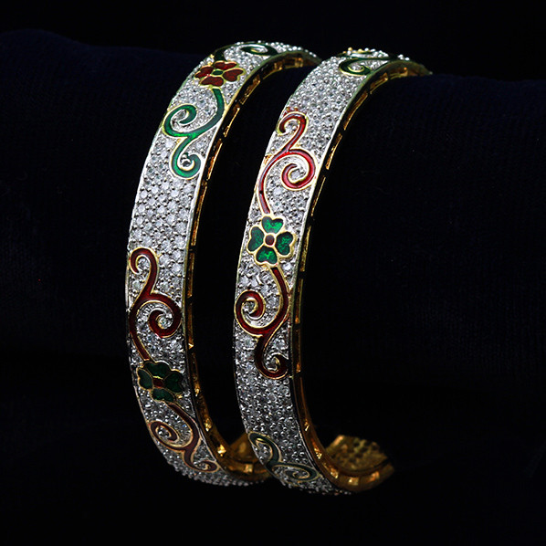 plated jewellery semi stones gold jewelsmart bangles traditional stone bangle precious green pcs emerald design set
