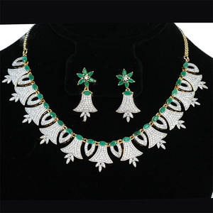 Classy Simulated Emerald CZ fashion jewelry necklace earrings set