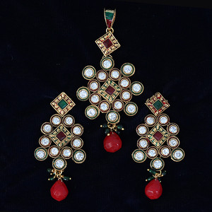 Indian Pakistani Ethnic Antique Gold Finish Kundan  Pendant Set
