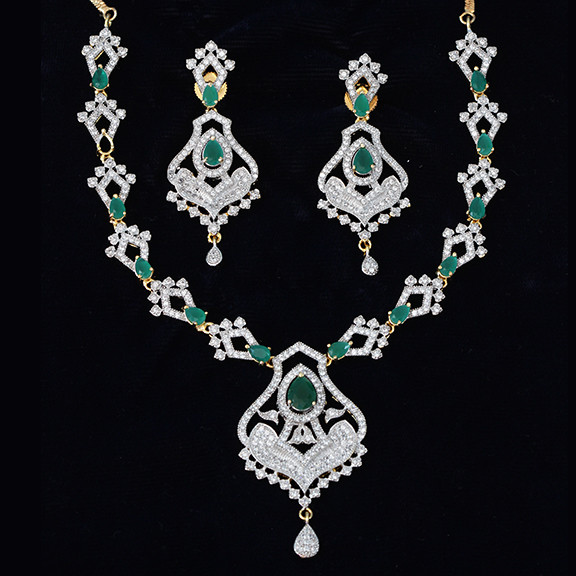 Green Costume Jewellery: Bollywood Fashion Jewelry CZ AD Diamond Replica Green