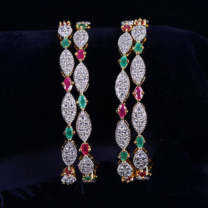 Beautiful Red Green CZ AD Indian Gold Plated Bracelet Designer Women Bangles