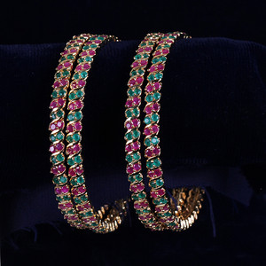 Multy stone ad cz Traditional Bollywood  Indian jewelry Bridal bangles set