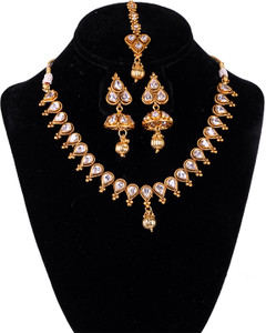 Indian Bollywood Gold Plated Kundan Stones Necklace Earrings Ethnic Jewelry Set