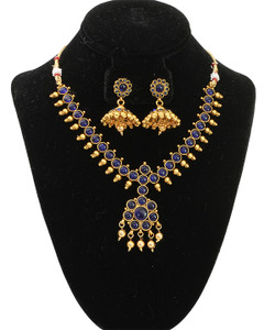 Indian Gold Plated Studded faux stone Necklace Earring Jewelry Set