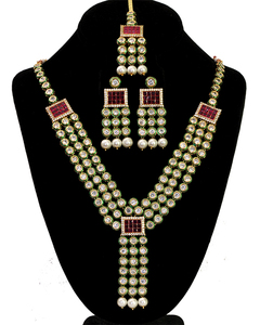 Indian Bollywood Gold Plated Kundan stone Necklace Earrings Ethnic Jewelry Set