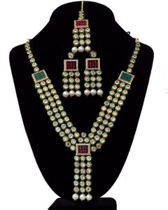 Polki kundan Indian Necklace earrings Set Bollywood jewelry
