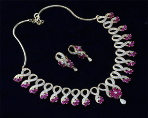 Beautiful Designer AD necklace with Ruby stones