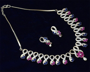 Ruby and Sapphire Blue CZ Ad designer Necklace Earring set