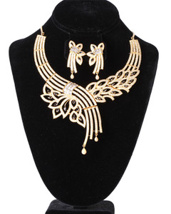 Gold Plated CZ AD Necklace with black stones decorated real Diamond jewelry