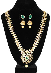 Elegant Peacock Design CZ Emerald Stone Long Necklace Set with Jhumkis