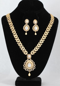 Indian AD Bridal long White & clear stone Jewelry set