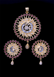Flower design Round Pendant & Earring Set Studded With Ruby & Clear Stones