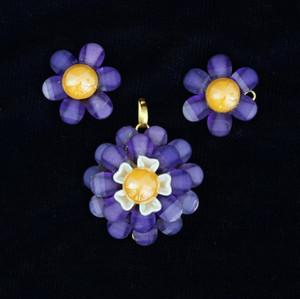 Violet color pachi pendant indian set