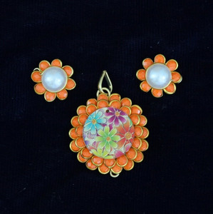 Orange Color Pachi Pendant set Indian Designs