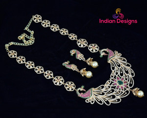 Exquisite Peacock Designed AD Long chain Necklace Earring set