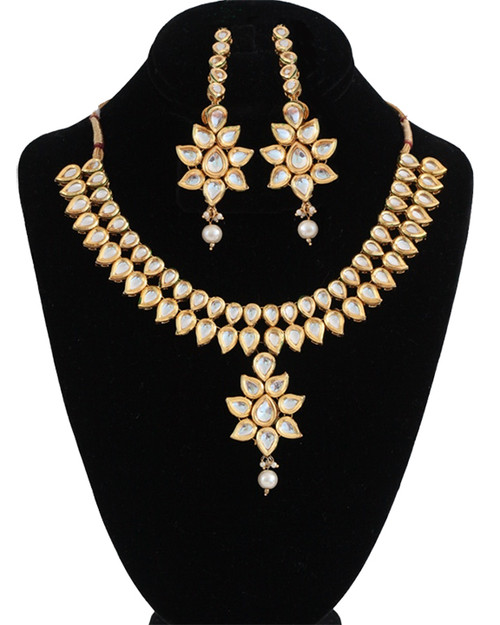 Indian Gold Plated Stones Kundan Necklace Earrings Party: Indian Bollywood Gold Plated Stones Kundan Necklace