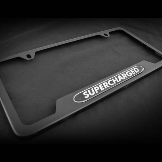Supercharged Oe Style Black Stainless Steel License Plate Frame With S And Caps