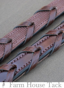 KL Select Rubber Fancy Stitch Laced Reins - Hidden Rubber Grip