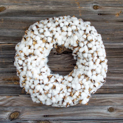 FAUX COTTON BURST WREATH - LG - 18.5""