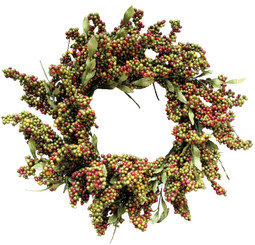 SOFT BERRY WREATH - RED OLIVE - 24""