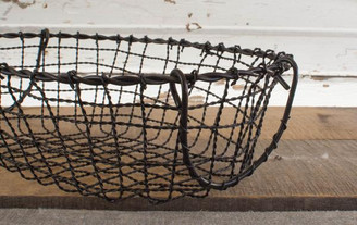 IRON OVAL BASKET - SM - 13 x 9 x 4""