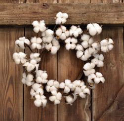 FAUX COTTON WREATH - 12""
