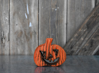 PUMPKIN WOODEN - OR/RD - 4.75 x 4""