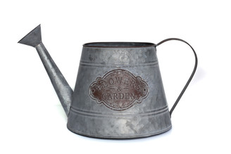 "GALVANIZED WATERING CAN - LG - 9.4"" x 9.4"" x 8.6"""