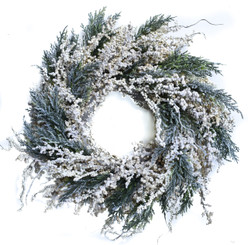 WINTER WHITE BERRY WREATH - 20""